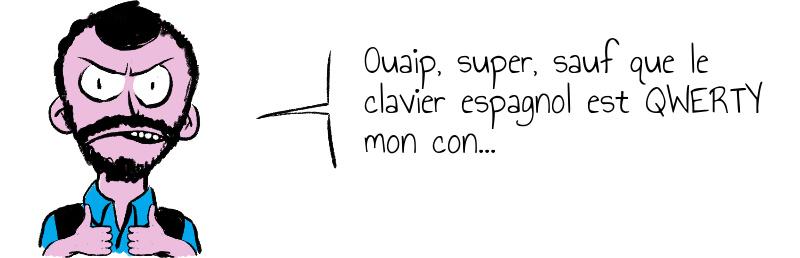 Ouaip, super, sauf que le clavier espagnol est QWERTY mon con...